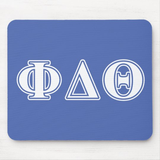 Phi Delta Theta White and Royal Blue Letters Mouse Pad