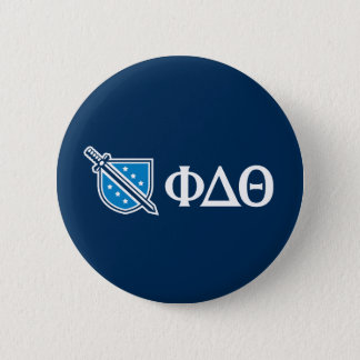 Phi Delta Theta - White Greek Lettters and Logo 2 2 Inch Round Button