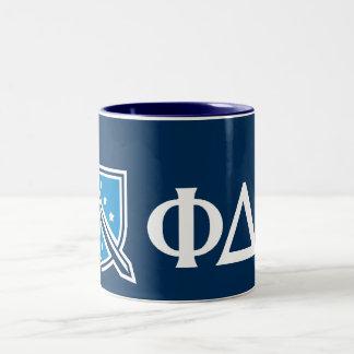 Phi Delta Theta - White Greek Lettters and Logo 2 Two-Tone Coffee Mug