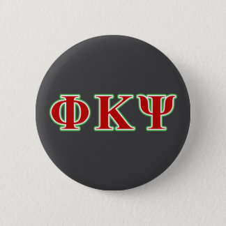 Phi Kappa Psi Red and Green Letters 2 Inch Round Button