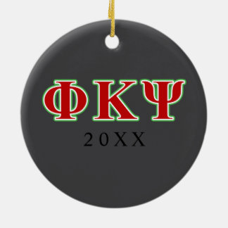 Phi Kappa Psi Red and Green Letters Round Ceramic Ornament