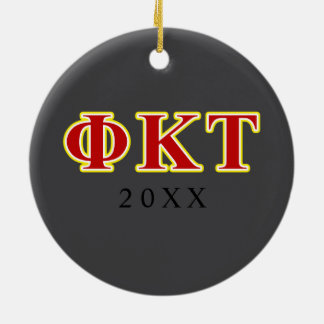 Phi Kappa Tau Yellow and Red Letters Ceramic Ornament
