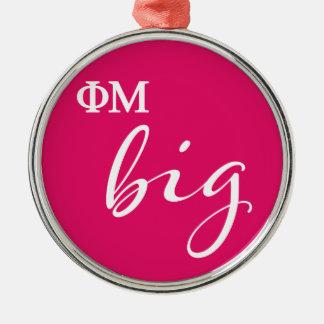Phi Mu Big Script Metal Ornament