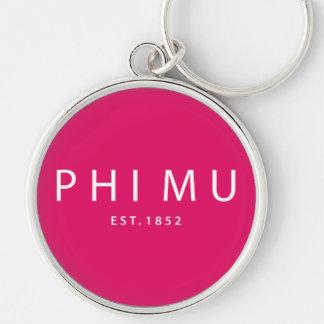 Phi Mu Modern Type Keychain