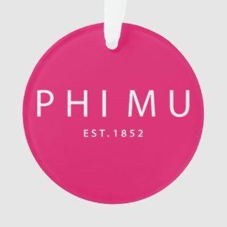 Phi Mu Modern Type Ornament