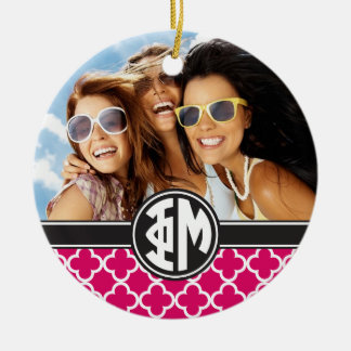 Phi Mu | Monogram and Photo Ceramic Ornament