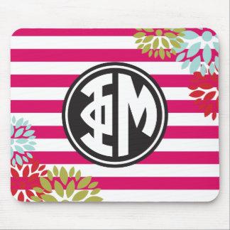 Phi Mu | Monogram Stripe Pattern Mouse Pad