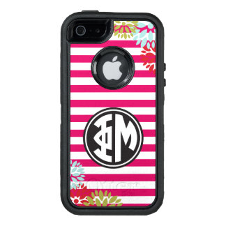 Phi Mu | Monogram Stripe Pattern OtterBox Defender iPhone Case