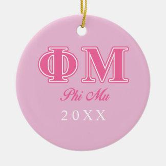 Phi Mu Pink Letters Ceramic Ornament