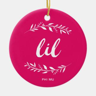 Phi Mu Wreath Lil Ceramic Ornament