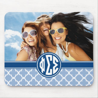 Phi Sigma Sigma | Monogram and Photo Mouse Pad