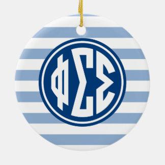 Phi Sigma Sigma | Monogram Stripe Pattern Ceramic Ornament