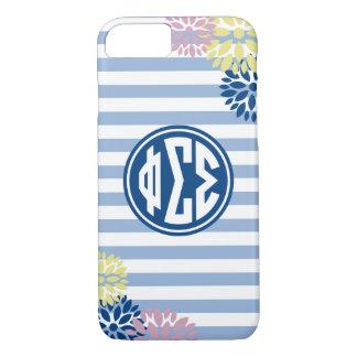 Phi Sigma Sigma | Monogram Stripe Pattern iPhone 8/7 Case