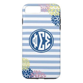 Phi Sigma Sigma | Monogram Stripe Pattern iPhone 8 Plus/7 Plus Case