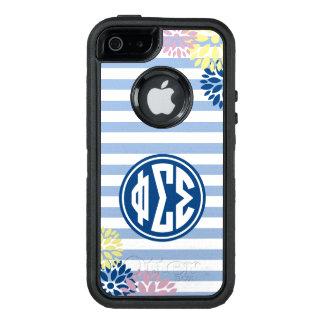 Phi Sigma Sigma | Monogram Stripe Pattern OtterBox Defender iPhone Case