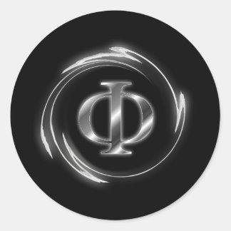 Phi symbol classic round sticker