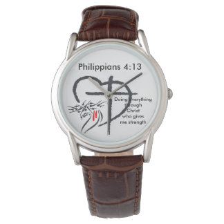 Phil 4:13 Mens Brown Leather Watch