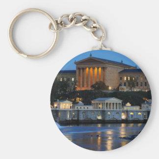Philadelphia Art Museum and Fairmount Water Works Basic Round Button Keychain