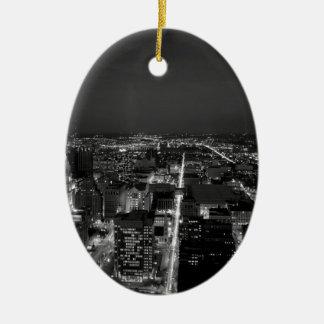 Philadelphia Black And White Skyline Ceramic Ornament