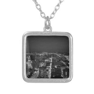 Philadelphia Black And White Skyline Silver Plated Necklace