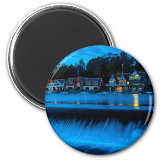 Philadelphia Boathouse Row At Sunset 2 Inch Round Magnet