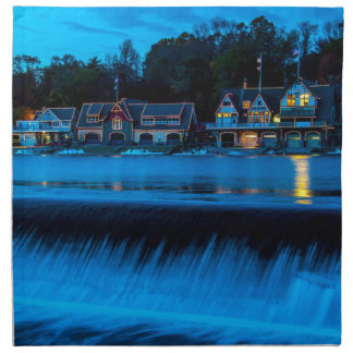 Philadelphia Boathouse Row At Sunset Cloth Napkins
