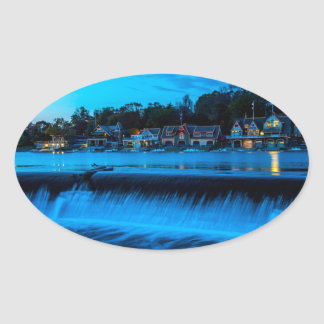 Philadelphia Boathouse Row At Sunset Oval Sticker
