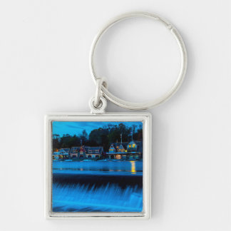 Philadelphia Boathouse Row At Sunset Silver-Colored Square Keychain