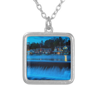 Philadelphia Boathouse Row At Sunset Silver Plated Necklace