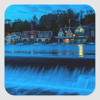 Philadelphia Boathouse Row At Sunset Square Sticker