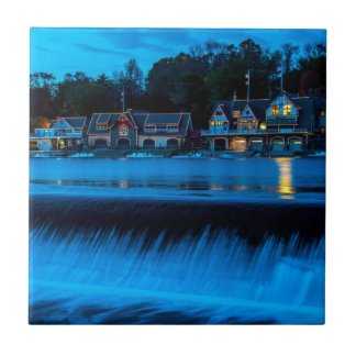 Philadelphia Boathouse Row At Sunset Tile