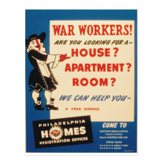 Philadelphia can Help War Workers Find Housing Postcard