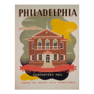 Philadelphia Carpenters Hall Vintage Poster