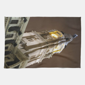 Philadelphia City Hall Clock Tower At Night Towels