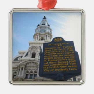 Philadelphia City Hall Premium Square Ornament