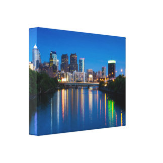 Philadelphia City Skyline at Night Canvas Print