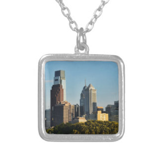 Philadelphia City Skyline Silver Plated Necklace