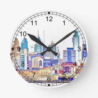 Philadelphia Color Sketch Wall Clock