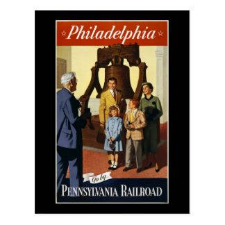 Philadelphia Go by Pennsylvania Railroad Postcard