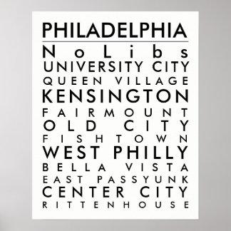 Philadelphia hoods 16x20 black txt poster
