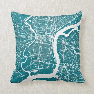 Philadelphia Modern Street Map Throw Pillow