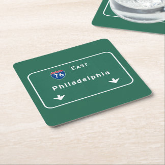 Philadelphia pa Interstate Highway Freeway Road : Square Paper Coaster