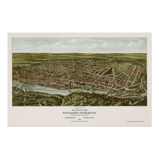 Philadelphia, PA Panoramic Map - 1907 Poster