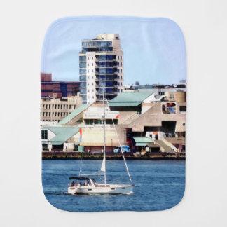 Philadelphia PA - Sailboat by Penn's Landing Burp Cloth