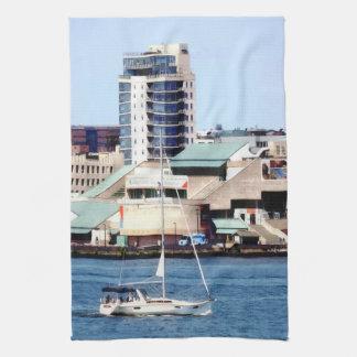 Philadelphia PA - Sailboat by Penn's Landing Kitchen Towel