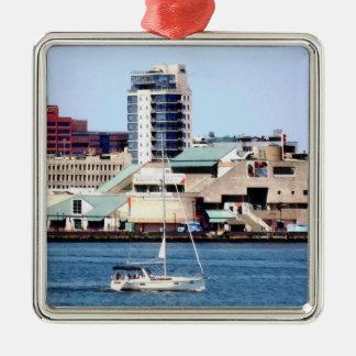 Philadelphia PA - Sailboat by Penn's Landing Metal Ornament