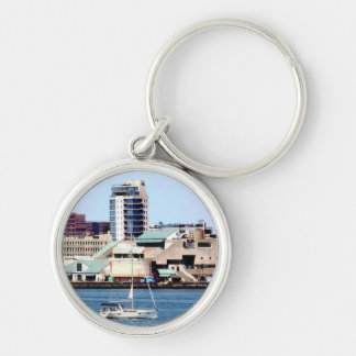 Philadelphia PA - Sailboat by Penn's Landing Silver-Colored Round Keychain
