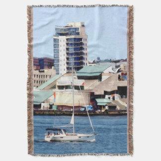 Philadelphia PA - Sailboat by Penn's Landing Throw Blanket