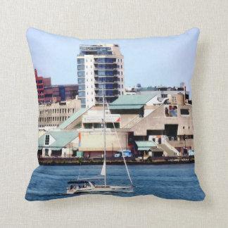 Philadelphia PA - Sailboat by Penn's Landing Throw Pillow