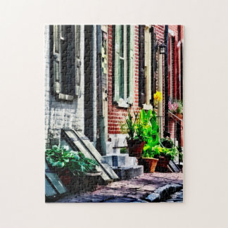 Philadelphia Pa Street With Flower Pots Jigsaw Puzzle
